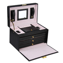 Load image into Gallery viewer, Black Rectangular 3 Drawer Jewelry Box