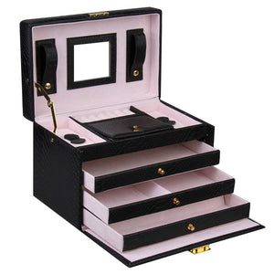 Black Rectangular 3 Drawer Jewelry Box