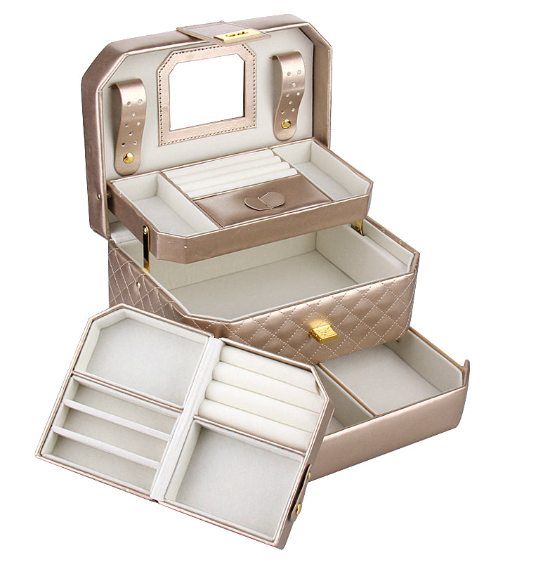 Gold Medium 2 Drawers Jewelry Box