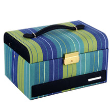 Load image into Gallery viewer, Sea Blue Striped Medium 2 Drawer Jewelry Box