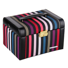 Load image into Gallery viewer, Black Striped Medium 2 Drawer Jewelry Box
