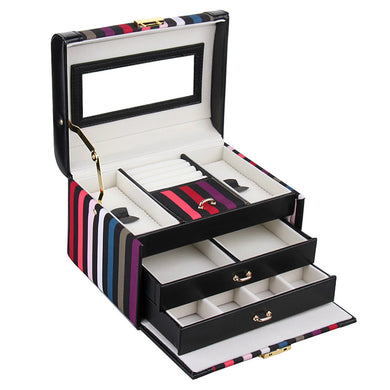 Black Striped Medium 2 Drawer Jewelry Box