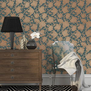 Silhouette Peacock Blue And Gold Self-Adhesive SI512 Wallpaper