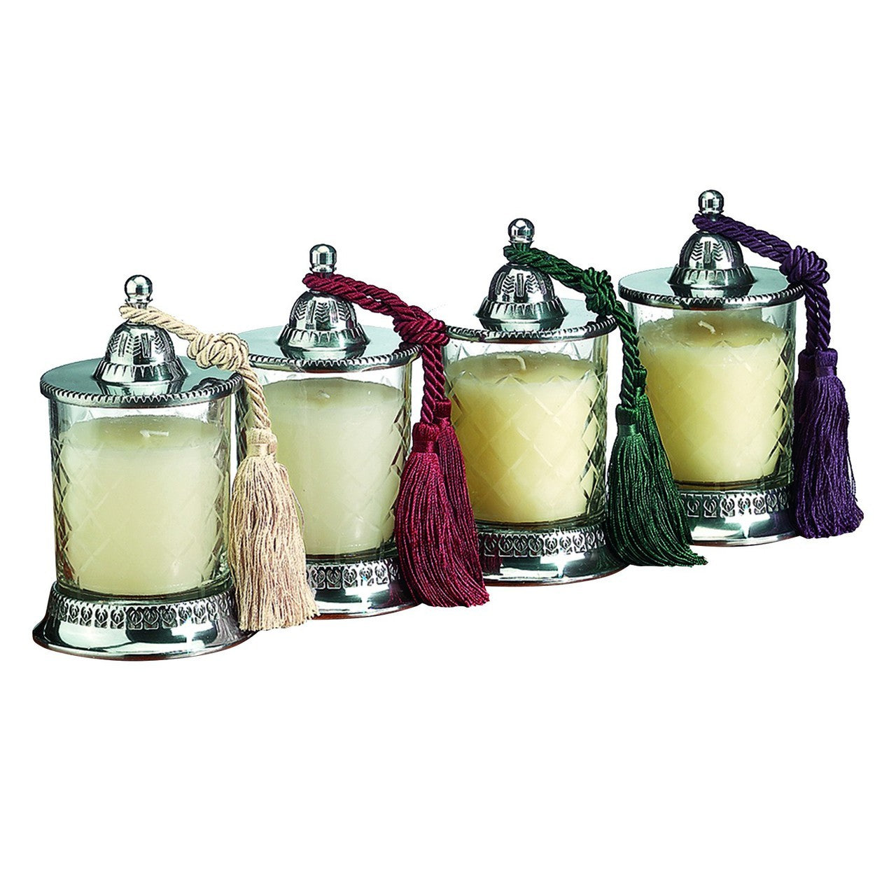 Covered Candle Jars Vanilla Candle 4 Pc Set