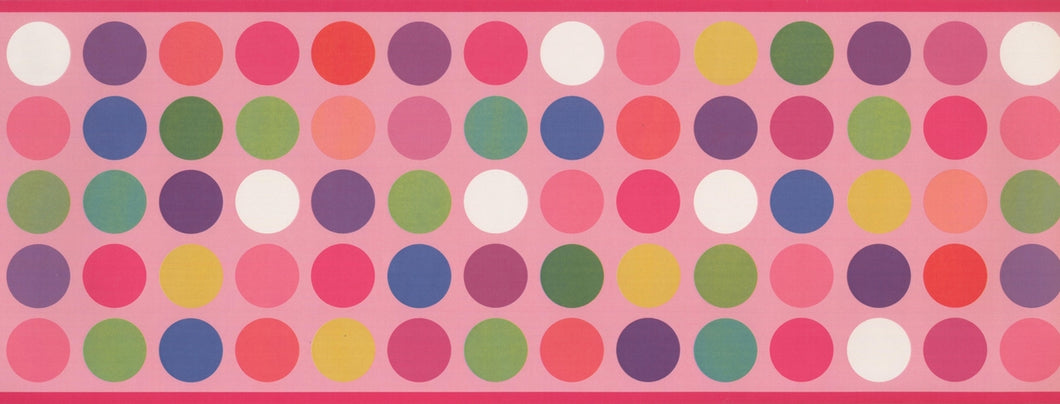 Colorful Circles Pink WK9382B Wallpaper Border