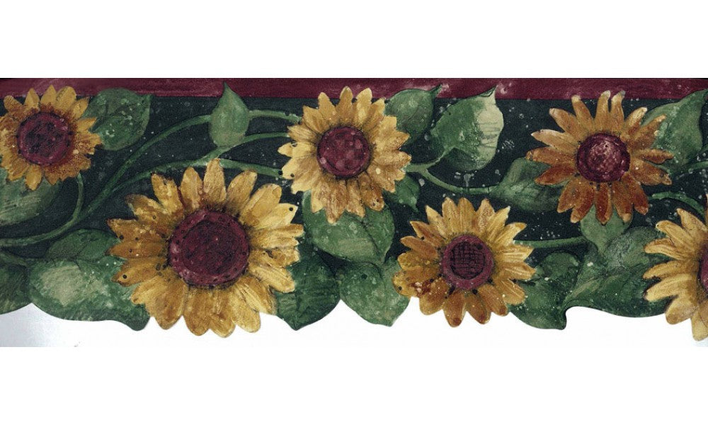 Green Leaf Sunflower FP75416 Wallpaper Border