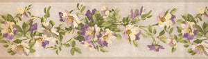 Yellow Beige Purple Flowers BH10-089-001-16 Wallpaper Border