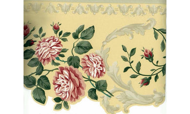 Pink Green Roses leaves Floral 5504732 Wallpaper Border