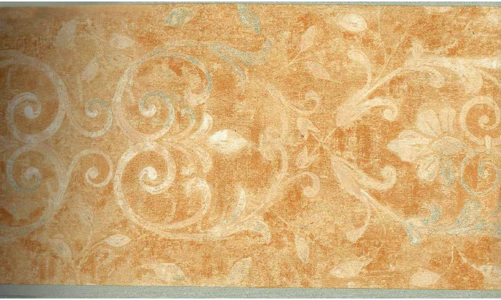 Orange Running Floral WK2243B Wallpaper Border