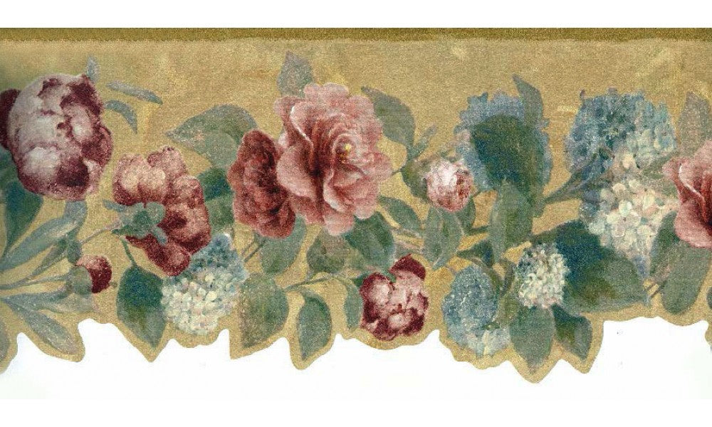 Brown Background Running Red Roses LB8501 Wallpaper Border