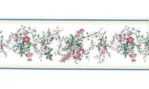 White Blue Gold Royal Floral 31616150 Wallpaper Border