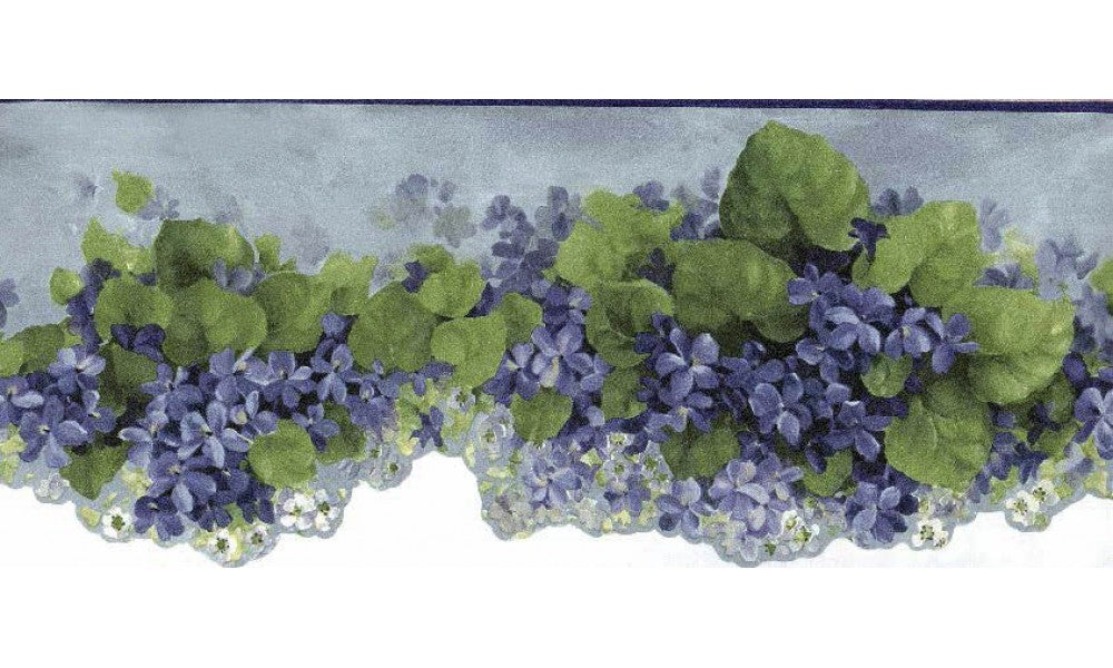 Blue African Violet Flower CN76740 Wallpaper Border