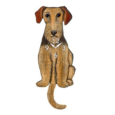 Airedale Terrier Dog Wagging Pendulum Clock