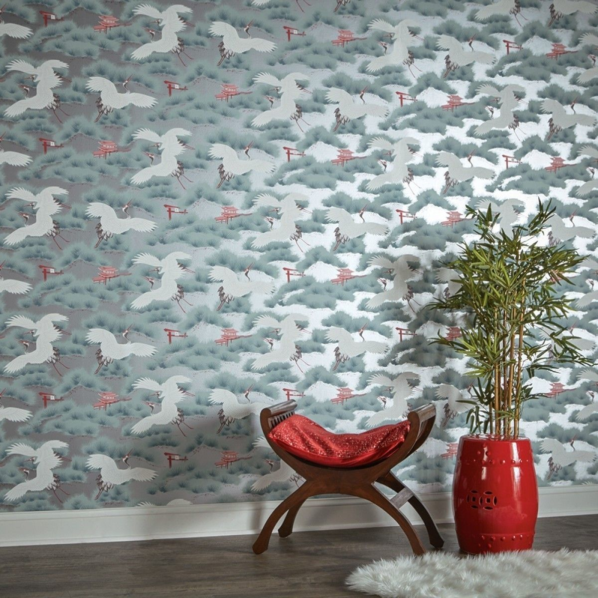 Asian Toile Sterling Cherry Blossom Red AS539 Self-Adhesive Wallpaper