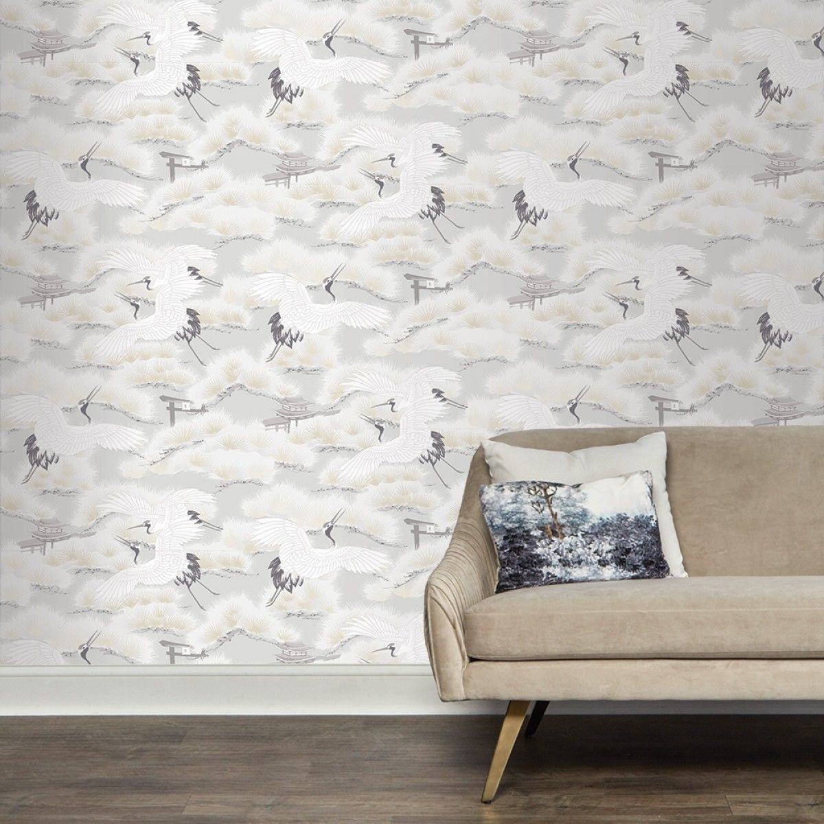 Asian Toile Winter White AS545 Self-Adhesive Wallpaper