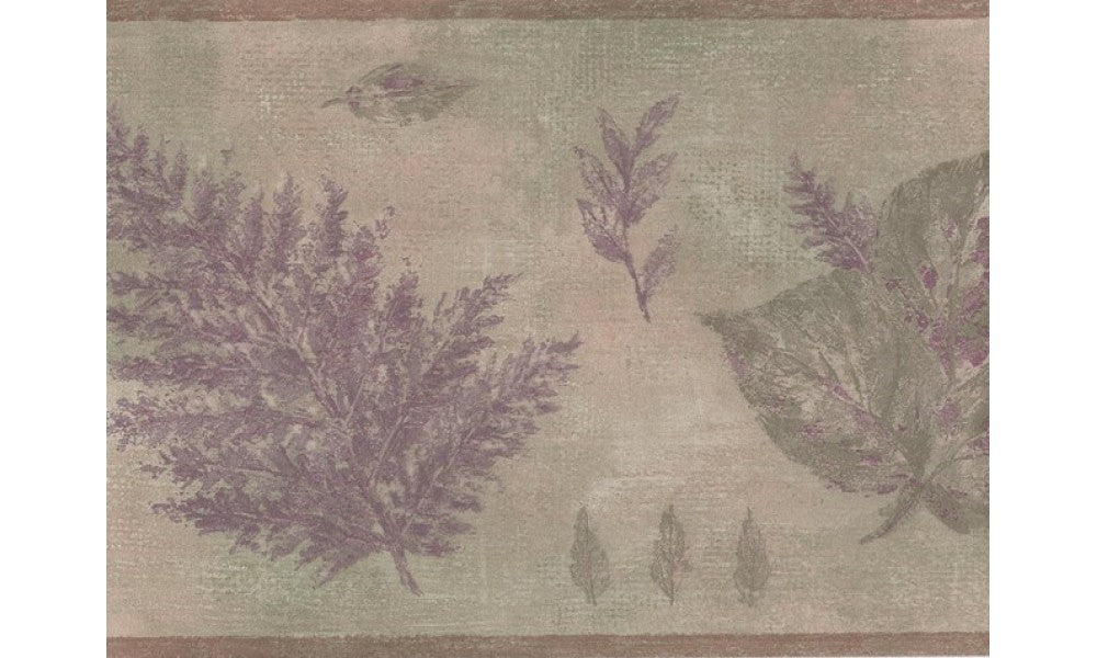 Olive Green Purple Tree Leaves GB30340 Wallpaper Border