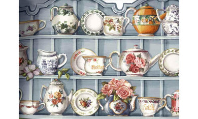 Blue Cups and Saucer Cupboard HH90222 Wallpaper Border