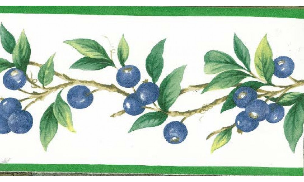 Blue Berries Green Leaves KT77912 Wallpaper Border