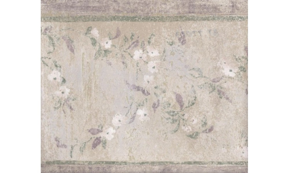 Green Silver White Stone Floral BT77073 Wallpaper Border