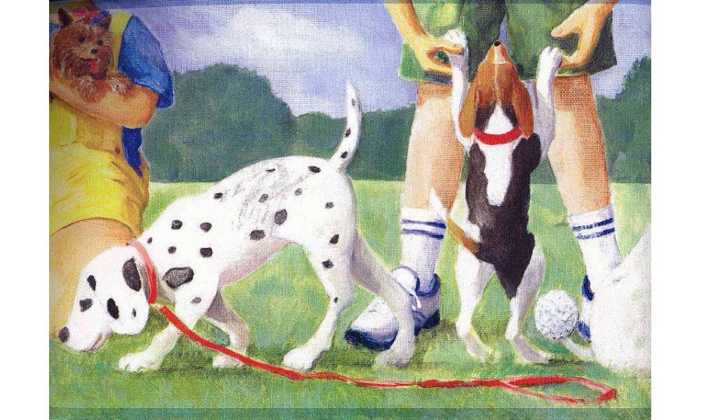 Dogs at Play Ground KL2934 Wallpaper Border