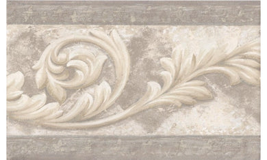 Silver Cream Molding Swirls AR75356B Wallpaper Border