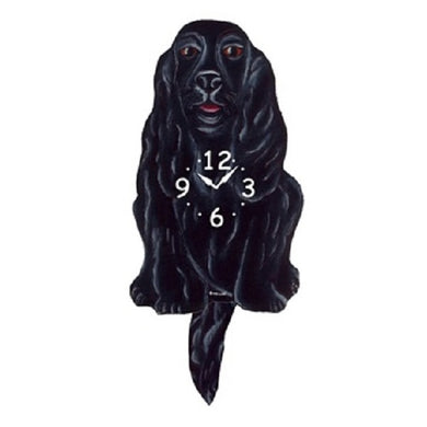 Black Cocker Spaniel Dog Wagging Pendulum Clock
