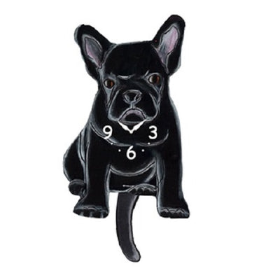 Black French Bulldog Dog Wagging Pendulum Clock