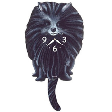 Black Pomeranian Dog Wagging Pendulum Clock
