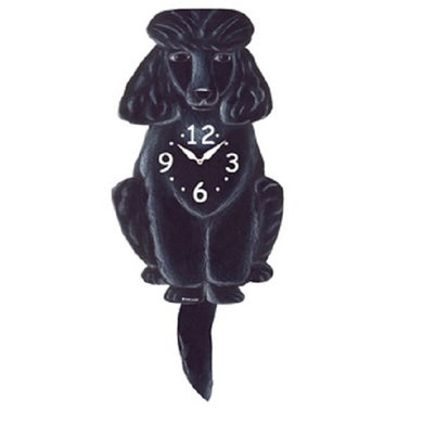 Black Poodle Dog Wagging Pendulum Clock
