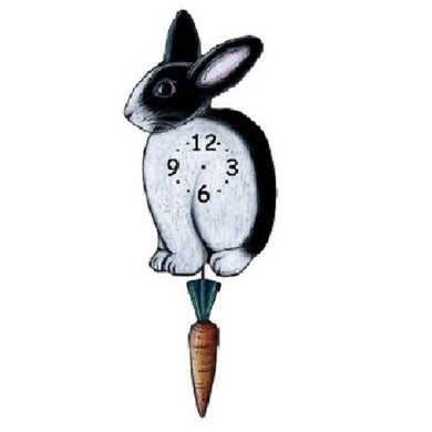 Black White Bunny Pendulum Wall Clock