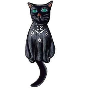 Black Cat Wagging Pendulum Clock
