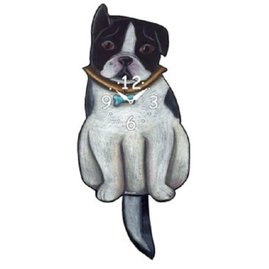 Boston Terrier Dog Wagging Pendulum Clock