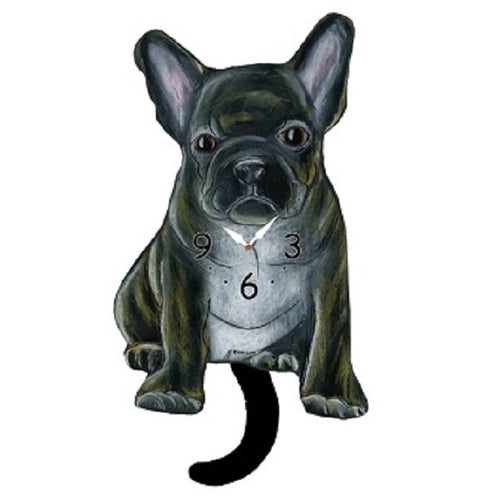 Brindle French Bulldog Dog Wagging Pendulum Clock