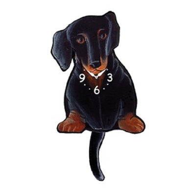 Black Dachshund Dog Wagging Pendulum Clock