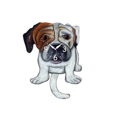 English Bulldog Dog Wagging Pendulum Clock