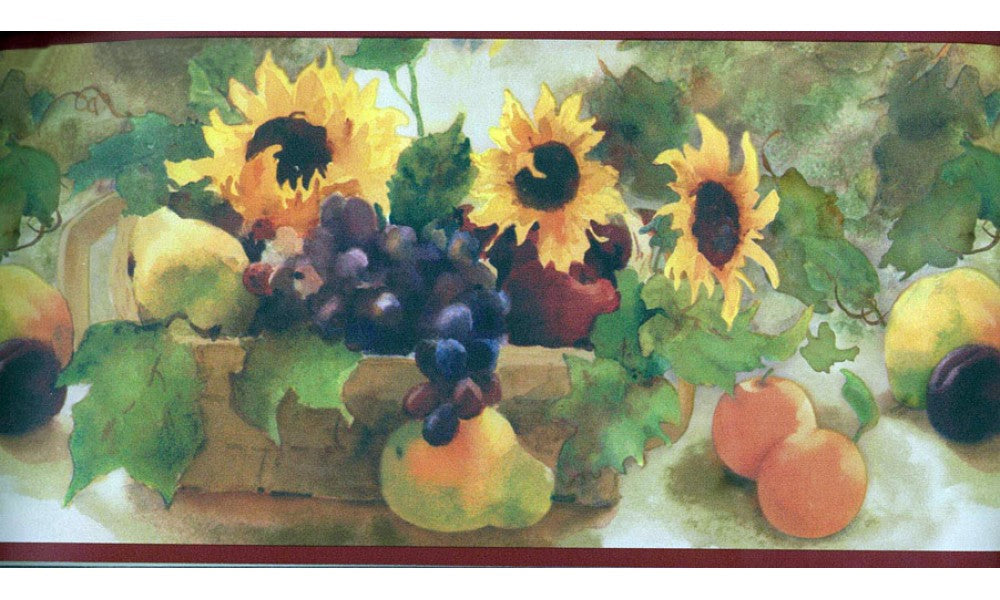 Sunflower Fruit Basket TK6232 Wallpaper Border