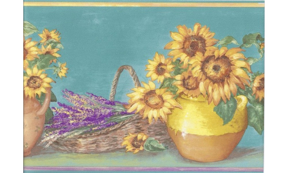 Light Blue Yellow Sunflower Pots KC78060 Wallpaper Border