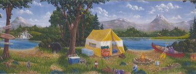Camp Site Tent Mountain WK9141B Wallpaper Border