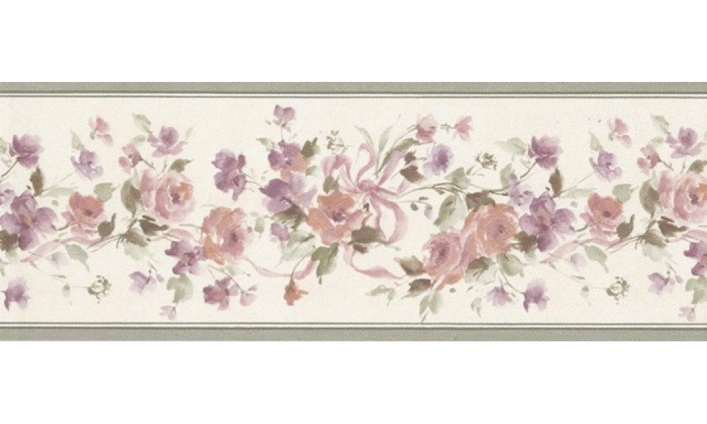 Olive Beige Floral Ribbons PP76583 Wallpaper Border