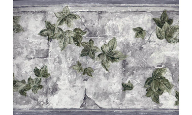 White Tiles Gardened Leaves TK6346 Wallpaper Border