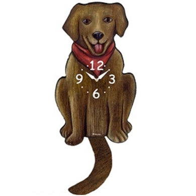 Chocolate Labrador Dog Wagging Pendulum Clock