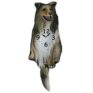 Collie Dog Wagging Pendulum Clock