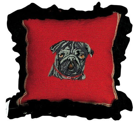 Black Pug Decorative Pillow