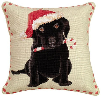 Christmas Black Lab Decorative Pillow