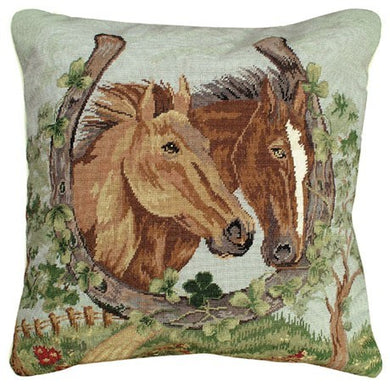 Horseshoe & Clover 18X18 Petipoint Pillow