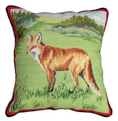 Standing Fox 14X14 Petit Point Needlepoint Pillow