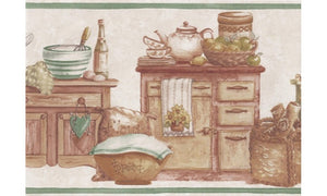 Cream Green Countrystyle Kitchen BT77729 Wallpaper Border