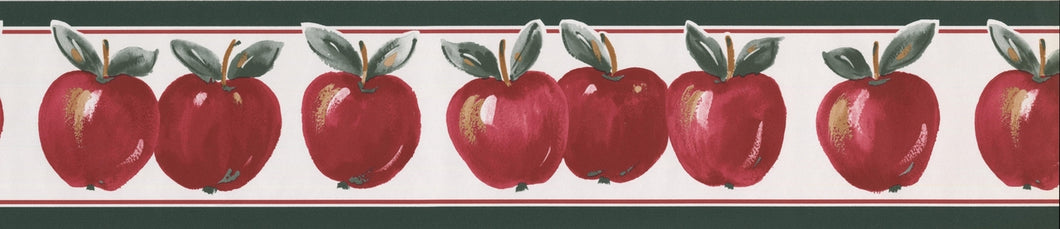 Red Apples Pine Green Trim White GA70186 Wallpaper Border
