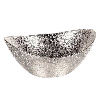 Snakeskin Silver Oval Glass Bowl D3526S