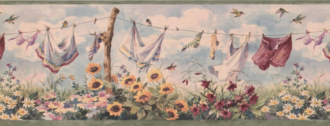 Clothes on Drying Line Retro Vintage BSB7031B Wallpaper Border